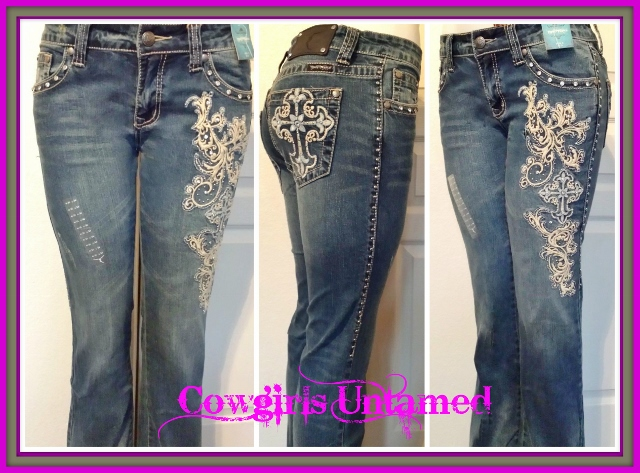 MONTANA WEST JEANS Grey and Blue Embroidered Floral Cross Rhinestones Silver Studded Western Jeans