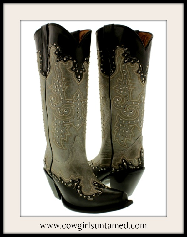 COWGIRL STYLE BOOTS Studded Tall Grey Taupe & Black GENUINE Leather SEXY RODEO Snip Toe Western Boots