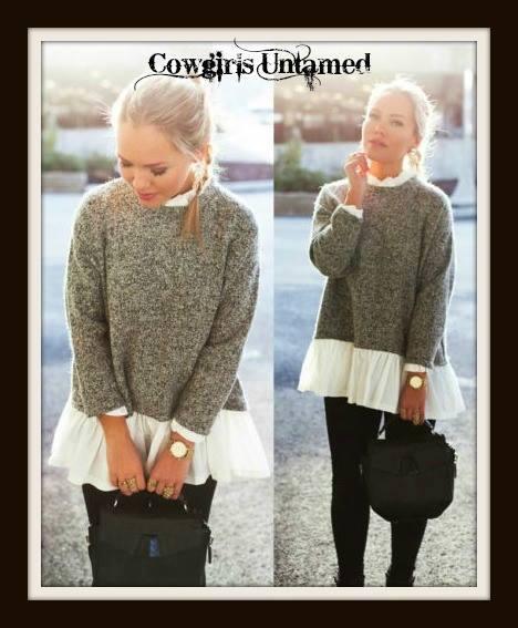 WILDFLOWER SWEATER Long Sleeve Charcoal Grey and White Ruffle Neck & Hemline Oversized Sweater