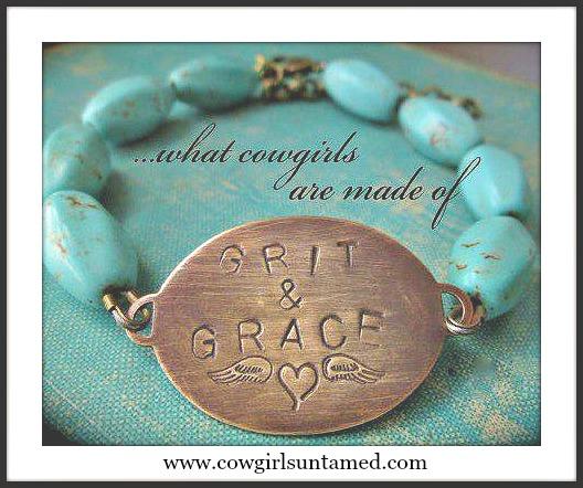 """WESTERN COWGIRL BRACELET Bronze """"Grit N Grace"""" Turquoise Beaded Bracelet"""