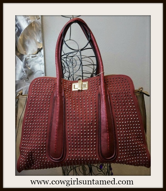 COWGIRL GLAM HANDBAG Gunmetal Crystals on Burgundy and Tan Large Tote Handbag