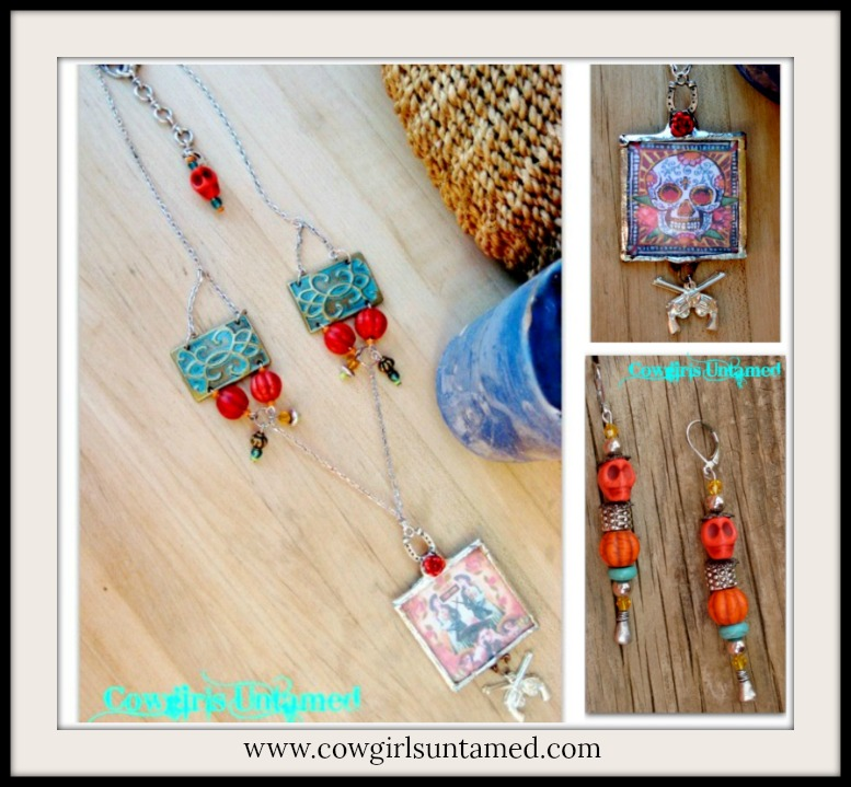 COWGIRL GYPSY NECKLACE SET Skull N Cowgirl Double Sided Pendant on Red & Turquoise Western Necklace N Earring SET