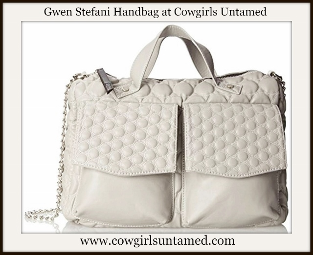 GWEN STEFANI HANDBAG Quilted Light Gray Large Designer Shoulder Bag