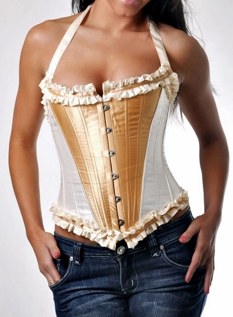CORSET - Ivory/Gold Satin Ruffle Lace Up Back Halter Style Western Corset Top