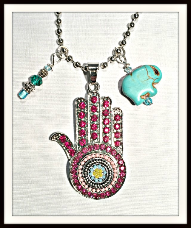 BOHEMIAN COWGIRL NECKLACE Hot Pink Crystal Large Hamsa w/ Snap Charm Pendant Turquoise Charms Silver Necklace