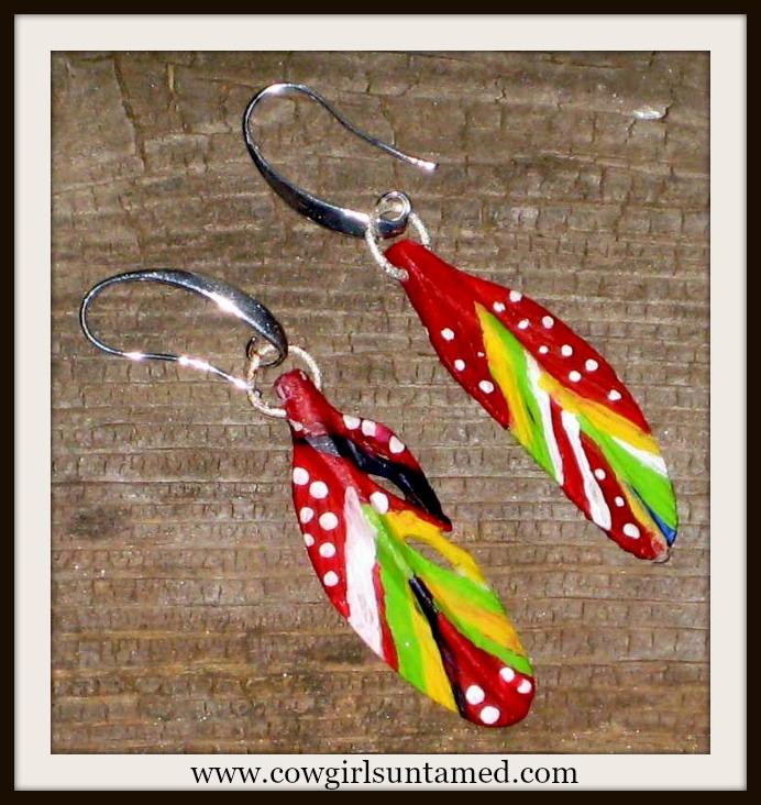 AMERICAN COWGIRL EARRINGS Hand Painted & Carved Bone Feather Western Earrings