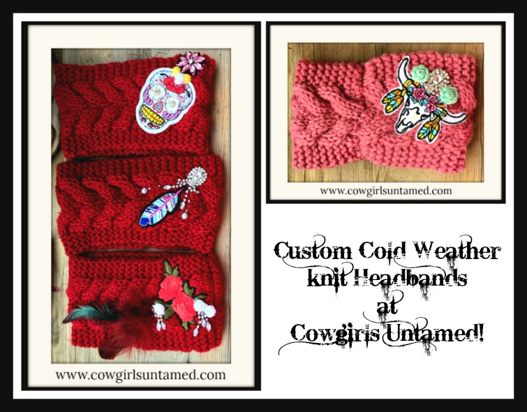 COWGIRL GYPSY HEADBAND Rhinestone & Embroidery Embellished Knnit Headband Ear Warmer