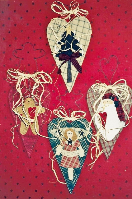 COWGIRL CHRISTMAS DECOR Primitive Christmas Quilted Hearts  CRAFTS Set of 4 The Prairie Grove Peddler Pattern Santa Angel Tree Gingerbread Man