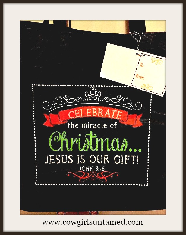 "HOLIDAY BAG ""Celebrate the Miracle of Christmas Jesus is Our Gift"" Chalkboard Style Tote FREE Tissue"
