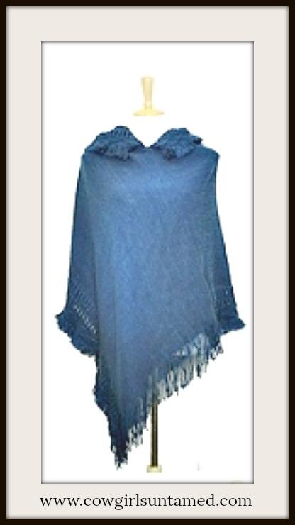COWGIRL GYPSY SWEATER Fringe Knit Cobalt Indigo Blue Hooded Western Poncho Sweater