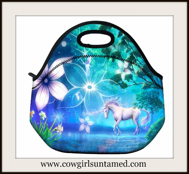 WESTERN COWGIRL HOME Floral & Horse Image Lunch Bag Cooler Tote