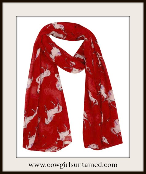 WESTERN SCARF White Horses on Red Long Scarf