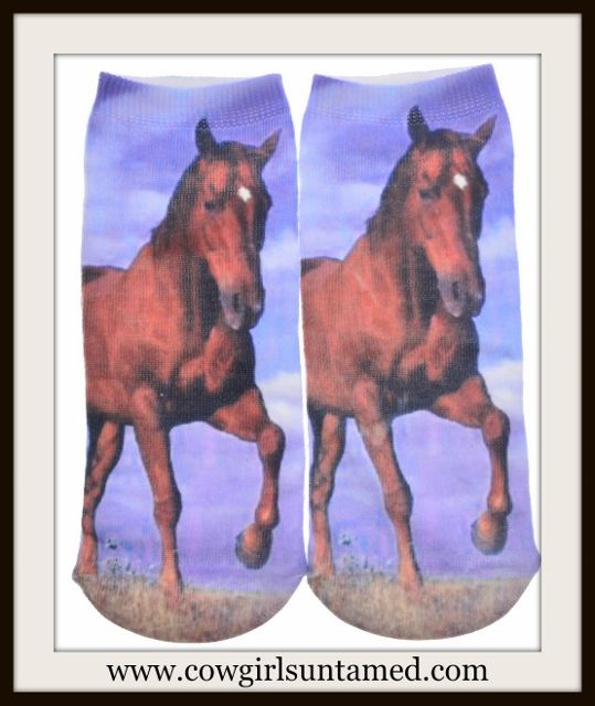 WESTERN COWGIRL SOCKS Brown Horse Image Blue Ladies Socks