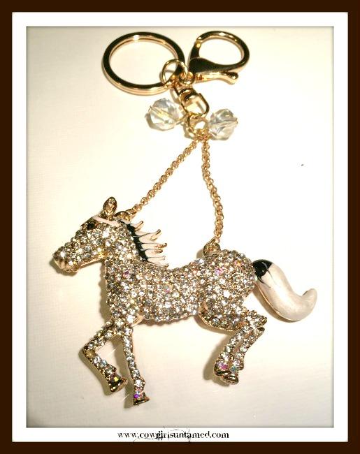 HORSE LOVIN' COWGIRL KEYCHAIN Beautiful Black and White Enamel and Golden Rhinestone Horse Keychain