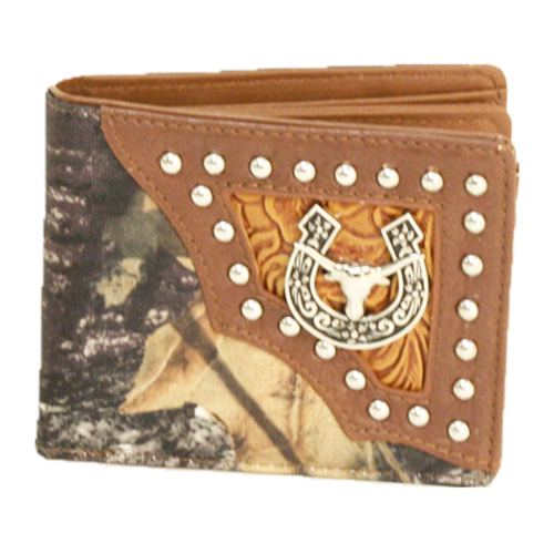 COWBOY STYLE WALLET Silver Studded with Horseshoe & Steer Concho Embossed Leather and Camo Western Wallet