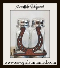 COWGIRL STYLE DECOR Western Metal Horseshoe Salt & Pepper Shaker SET