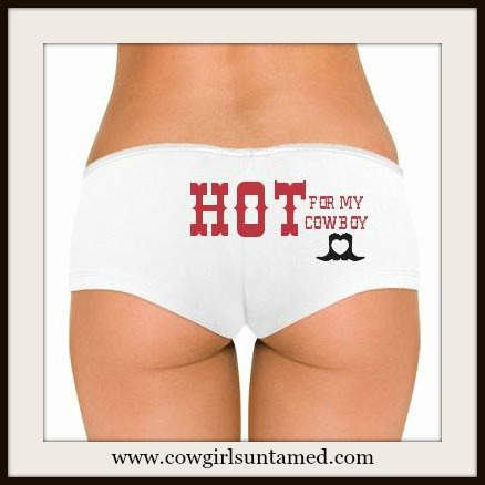 "COWGIRL ATTITUDE PANTY ""HOT For My Cowboy"" with Heart Cutout Boots Image on Western Panty Lingerie Boy Shorts"