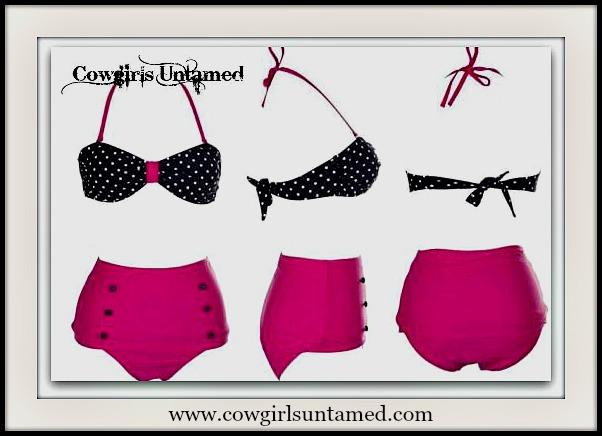 COWGIRL PINUP BIKINI Hot Pink with Black N' White Polka Dot Top Bikini Set
