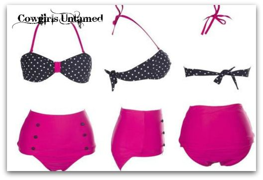 COWGIRL PINUP BIKINI Hot Pink with Black N' White Polka Dot Top Retro Bikini Set