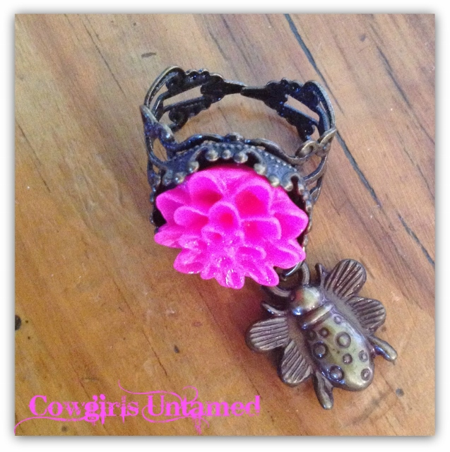 "COWGIRL GYPSY RING ""Flower Child"" Hot Pink Dahlia Flower & Bee Charm on Boho Antique Bronze Ring"