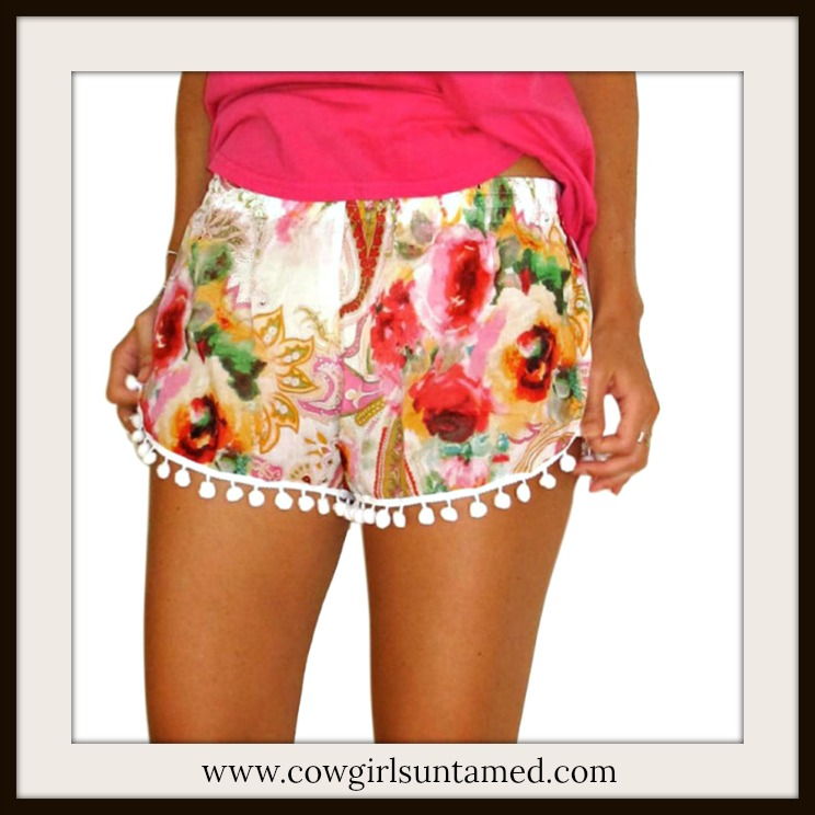 BOHEMIAN COWGIRL SHORTS Hot Pink Floral Paisley Elastic Waist Pom Pom Trim Shorts