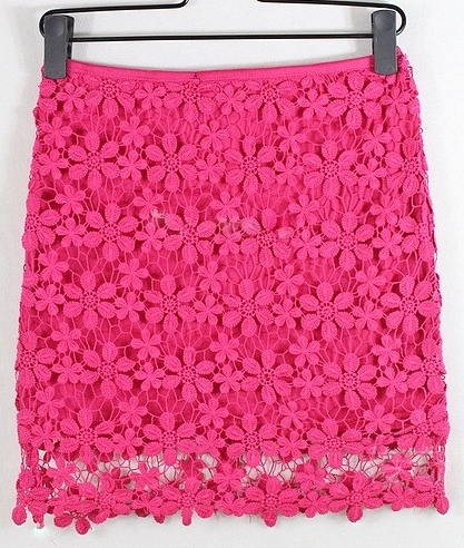 COUNTRY COWGIRL SKIRT Hot Pink Floral Lace Crochet Western Mini Skirt