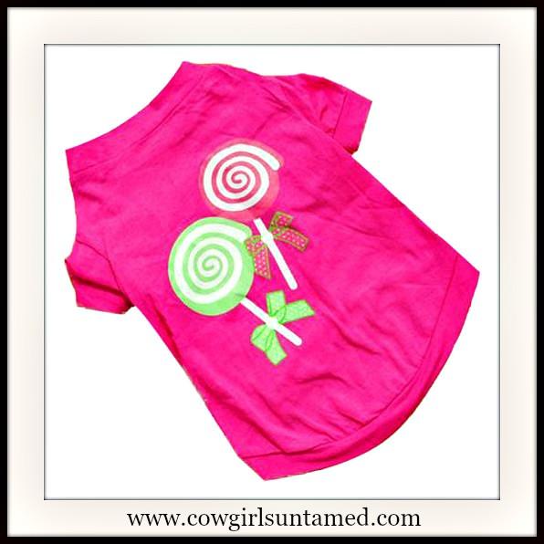 BLINGIN' BESTIES Glitter Lollipops on Hot Pink Doggie Tee