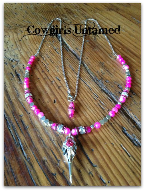 COWGIRL STYLE NECKLACE Beaded Hot Pink Silver Plated Warrior Crow Skull Head Pink crystals