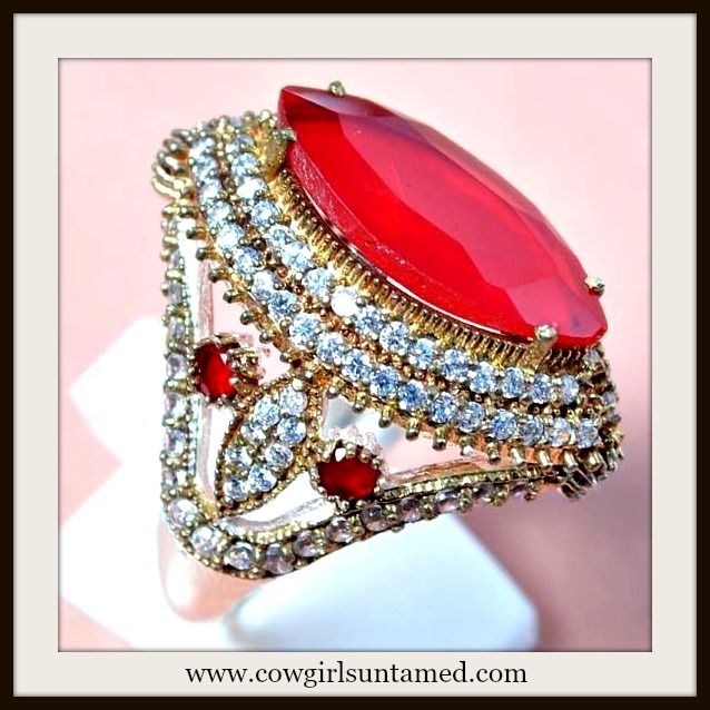 VINTAGE GYPSY RING Red Ruby & Topaz 925 Sterling Silver & Antique Bronze Ring