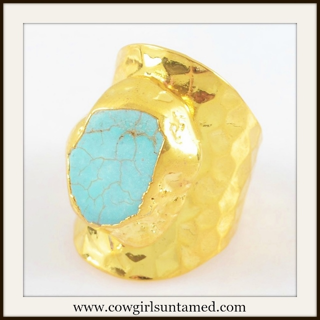 WESTERN COWGIRL RING Howlite Turquoise Gold Plated Ring