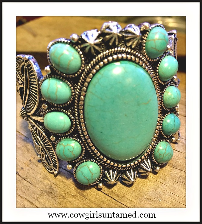 COWGIRL STYLE BRACELET Antique Silver and Large Turquoise Stone Western Cuff