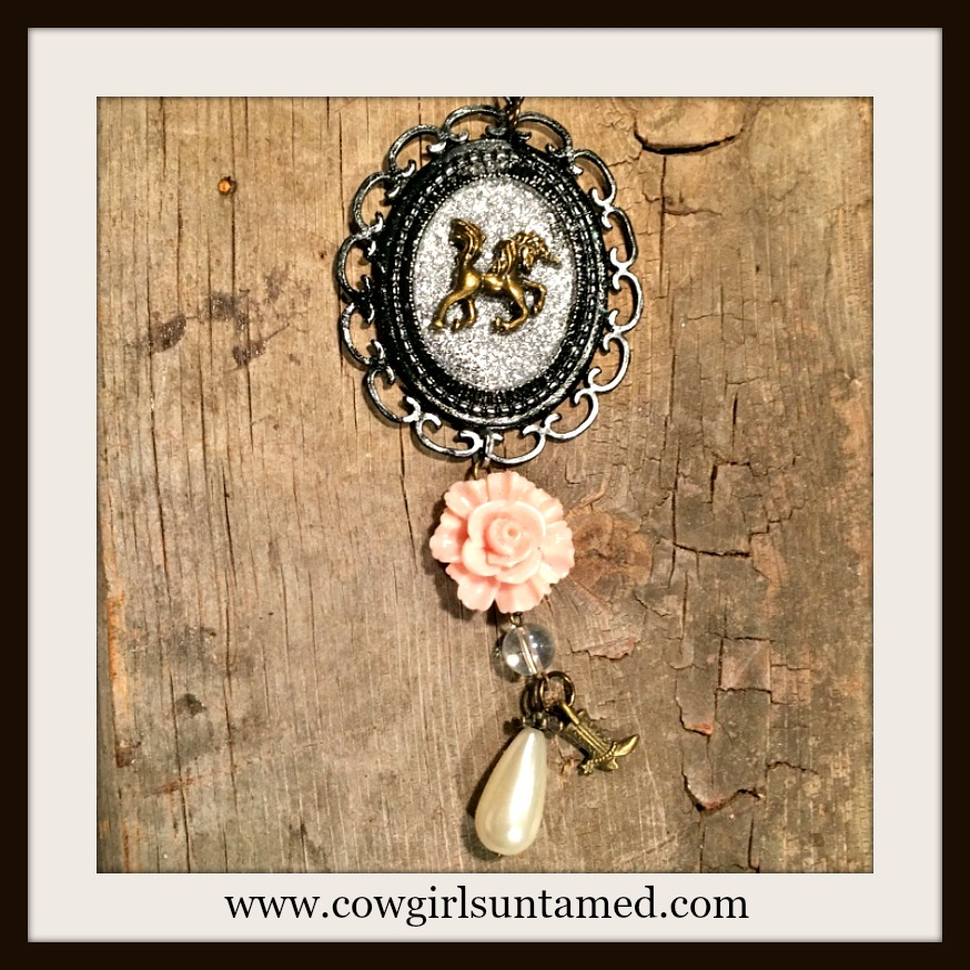 VINTAGE COWGIRL NECKLACE Antique Bronze Horse Cameo Pink Rose Pearl Boot Crystal Charm Necklace