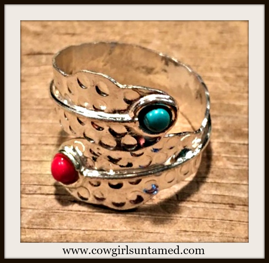 WESTERN COWGIRL RING Hammered Sterling Silver Turquoise and Red Coral Ring
