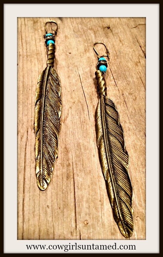 COWGIRL GYPSY EARRINGS Antique Bronze Leaf Rhinestone & Turquoise Long Boho Earrings