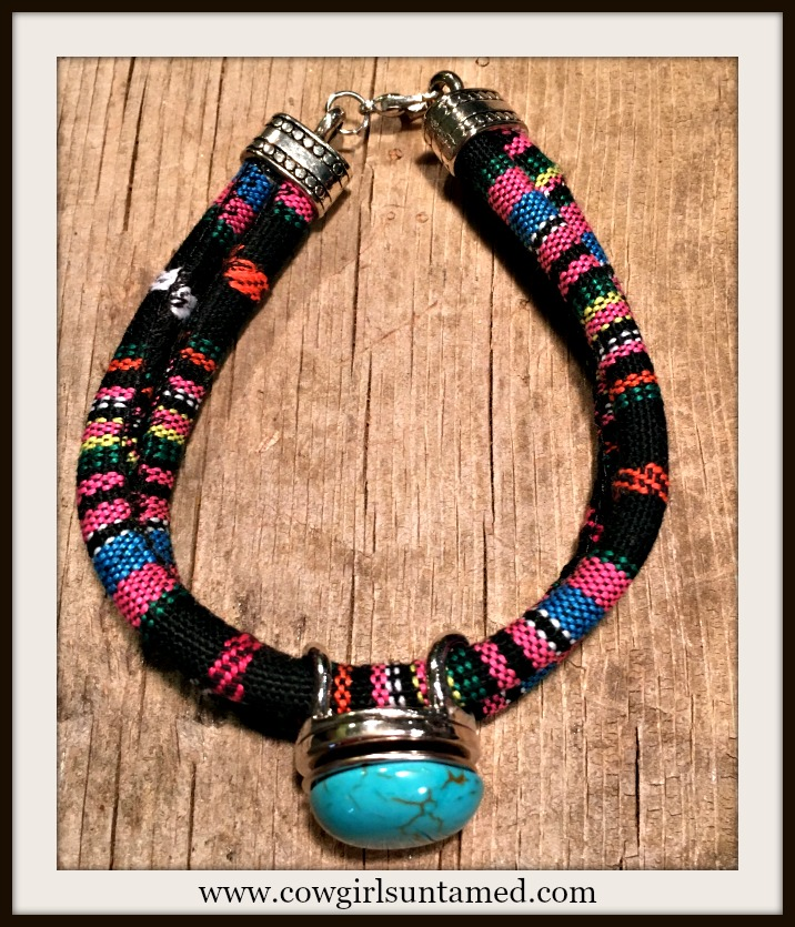SOUTHWESTERN FLAIR BRACELET Multi Color Black Serape Stripe Double Strap Silver Snap On Bracelet