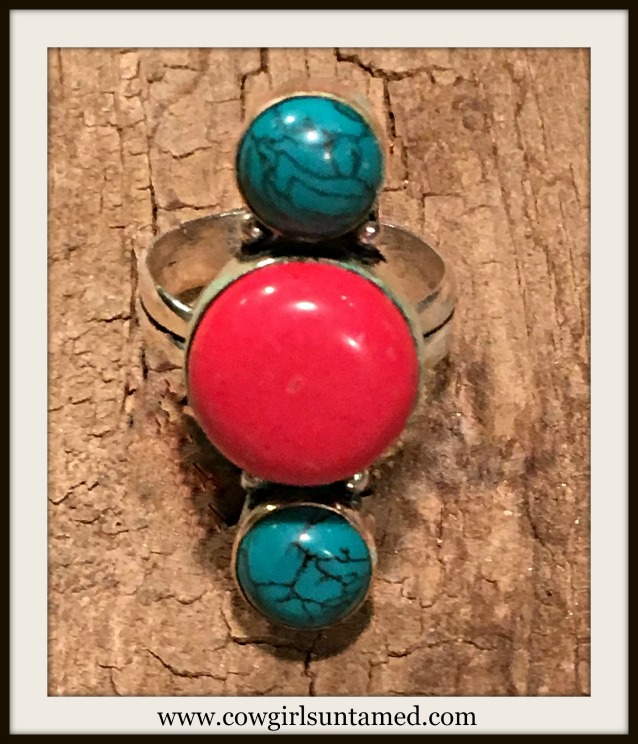 SOUTHWESTERN FLAIR RING Red Coral and Turquoise 925SS Ring