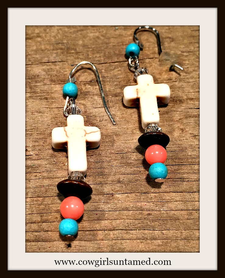 COWGIRL GYPSY EARRINGS Ivory Turquoise Cross Genuine Turquoise & Coral Crystal Boho Earrings