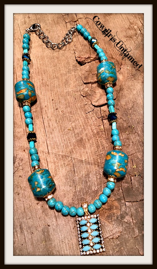 VINTAGE GYPSY NECKLACE Turquoise Topaz Antique Bronze Pendant Turquoise Crystal Beaded Necklace