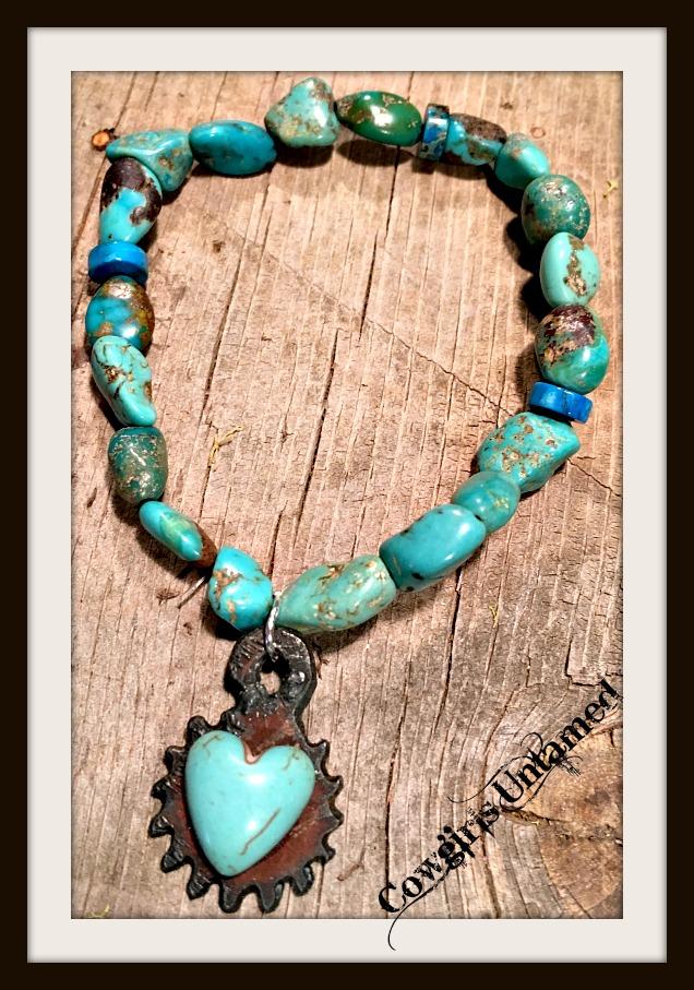GYPSY SOUL BRACELET Genuine Aqua Turquoise & Jasper Gemstone Heart Charm Stretch Bracelet