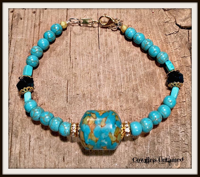 VINTAGE GYPSY BRACELET Genuine Copper Turquoise Rhinestone Crystal Bracelet