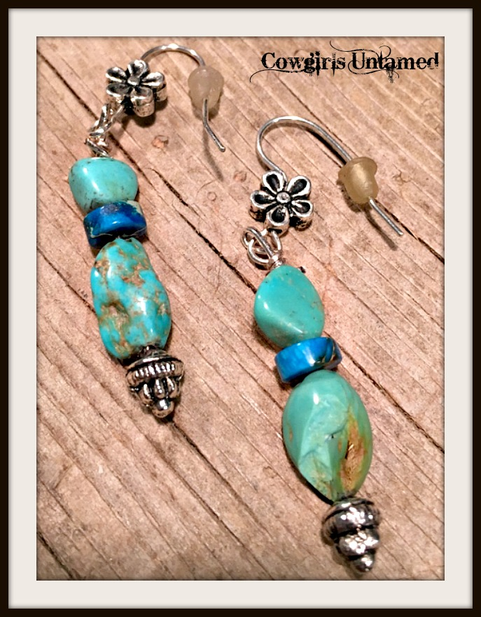 GYPSY SOUL EARRINGS Aqua Turquoise Blue Jasper Gemstone Silver Boho Earrings