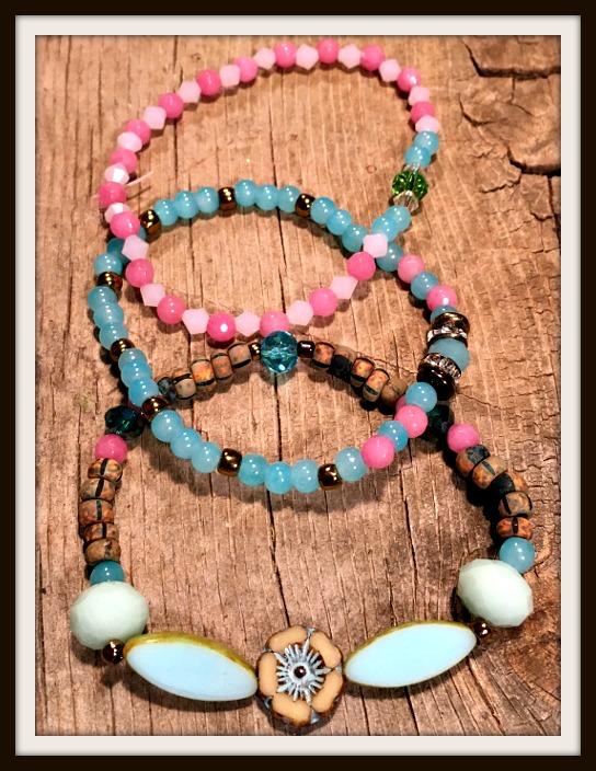 VINTAGE COWGIRL BRACELET SET Blue Glass Wood Pink Gemstone Rhinestone Teal Bracelet Set of 3
