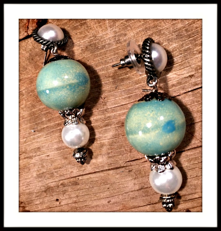 VINTAGE COWGIRL EARRINGS Antique Silver Pearl and Blue Ceramic Earrings