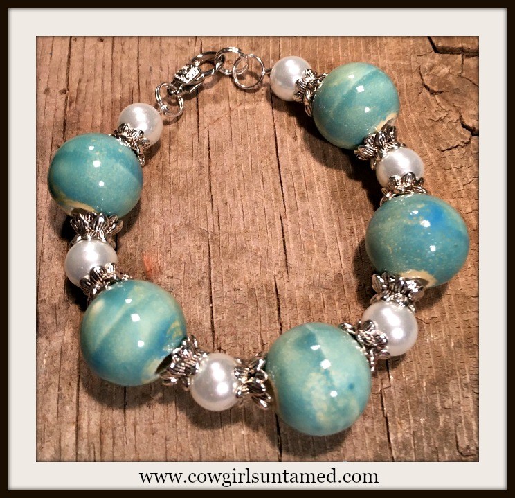 VINTAGE COWGIRL BRACELET Antique Silver Pearl and Blue Ceramic Bracelet