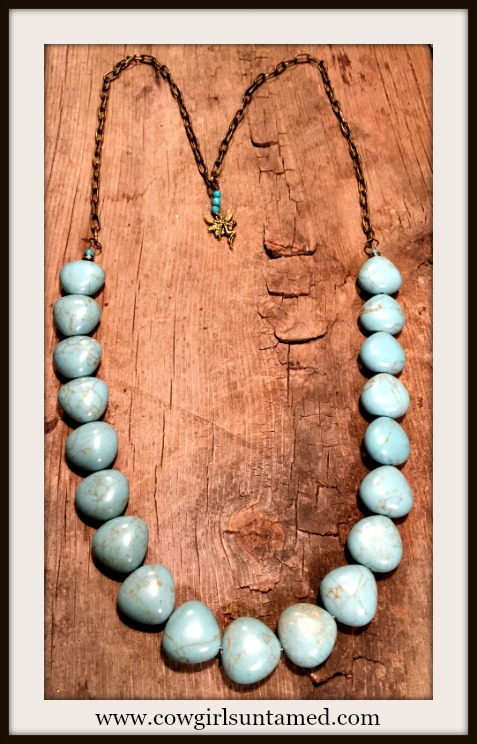 SOUTHERN TRADITIONS NECKLACE Rhinestone Turquoise Beaded Antique Bronze Chain & Fairy Charm Necklace