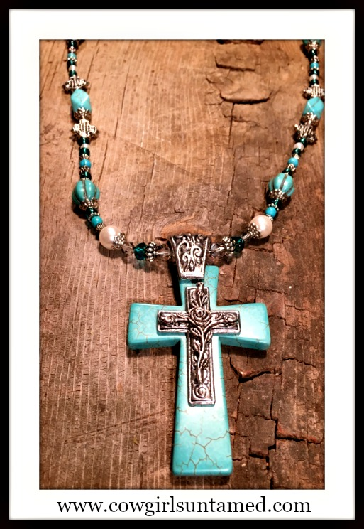 SPIRITUAL COWGIRL NECKLACE Antique Silver & Turquoise Cross Pendant Pearl Teal Turquoise Beaded Necklace