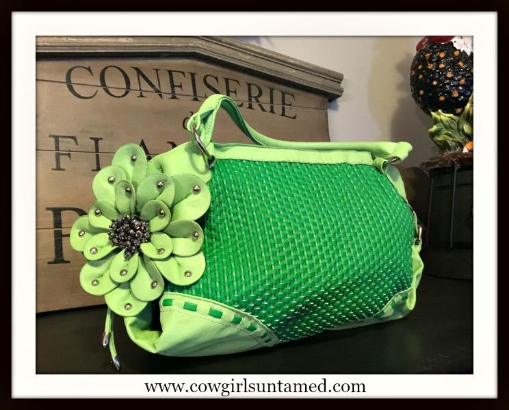 SOUTHERN STYLE HANDBAG Crystal & Leather FlowerTwo Tone Green Large Basketweave Handbag
