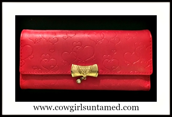 SWEET N SASSY Heart Embossed Gold Closure with Crystal Red Trifold Wallet