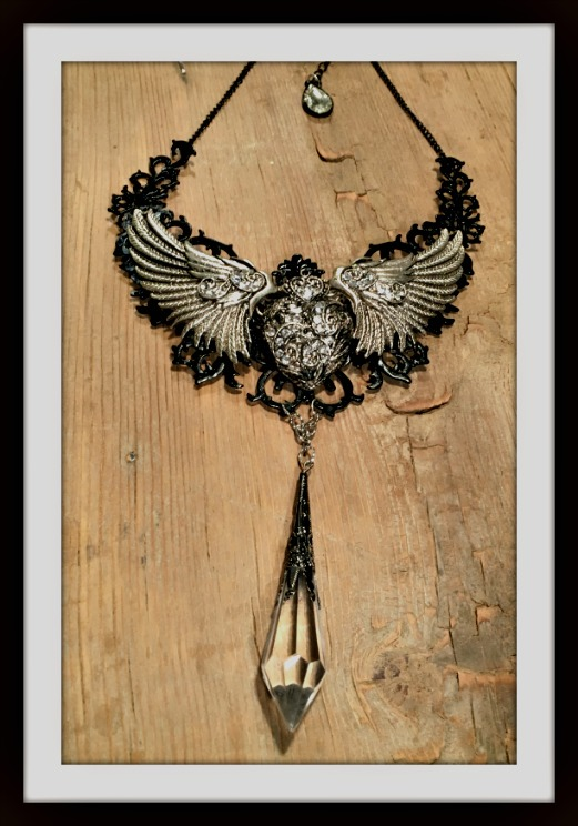 COWGIRLS ROCK NECKLACE Black Filigree With Antique Silver Rhinestone Winged Heart Crystal Charm Bib Necklace