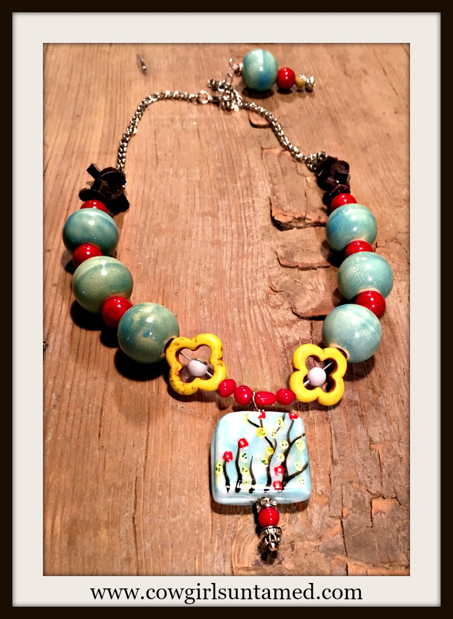 WILDFLOWER NECKLACE Handpainted Floral Ceramic Pendant Red N' Yellow Turquoise Leather Choker Necklace